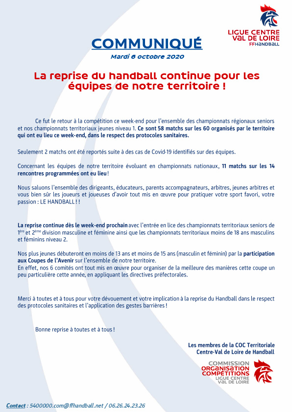 Communiqué de la Ligue Centre Val de Loire du 6 Octobre
